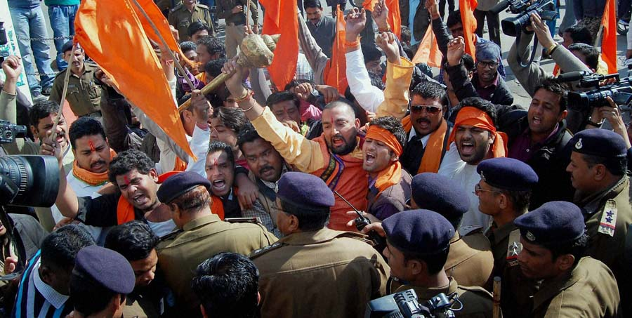 Bhopal: Bajrang Dal activists protest against Aamir Khan starrer 'PK' in Bhopal on Monday. PTI Photo(PTI12_29_2014_000044B)